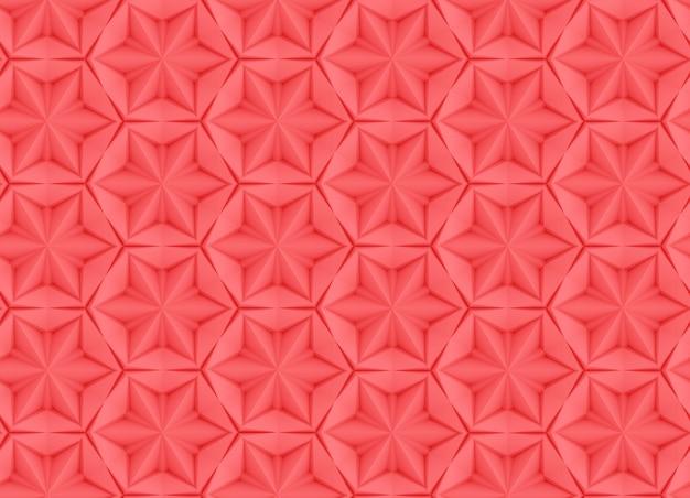 Nahtlose beschaffenheit basiert auf einem sechseckigen gitter mit einer zusammenfassung der lebenden korallenroten illustration der farbe 3d des schwenkers und der verdrängten elemente