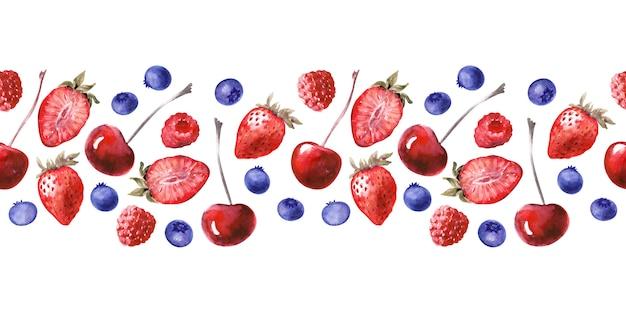 Nahtlose grenze des aquarells mit verschiedenen kleinen kuchen und reifen erdbeeren, blaubeeren, kirschen und himbeeren