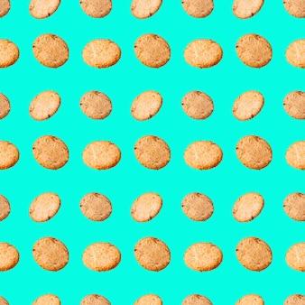 Nahtlose muster haferflocken cookies auf grünem hintergrund