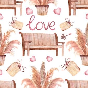 Nahtlose muster mit pampasgras in töpfen, bänken, der aufschrift liebe, einem tag und einem schlüssel im boho-stil auf weißem, isoliertem hintergrund. aquarellillustration.