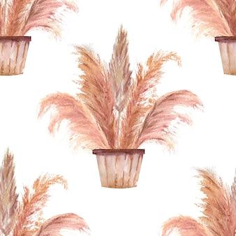 Nahtlose muster mit pampasgras in töpfen im boho-stil auf weißem, isoliertem hintergrund. aquarellillustration.