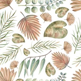 Nahtlose muster mit tropischen blättern im boho-stil auf einem weißen, isolierten hintergrund. aquarellillustration.