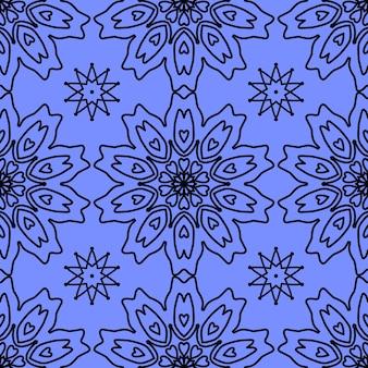 Nahtlose muster von schneeflocken auf blauem hintergrund für weihnachten, neujahr, schneeflocke-element nahtlose muster illustration design weihnachtspapier verpackung dekoration konzept.