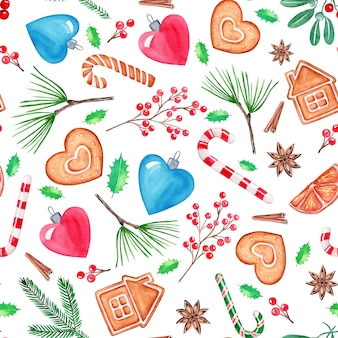 Nahtlose muster-weihnachtsillustration, handgezeichnete aquarellmalerei