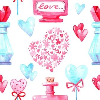 Nahtlose musterstruktur des aquarells für valentinstag. handgemalter hintergrund. romantische illustration perfekt für designgrüße, drucke, flyer, karten, feiertagseinladungen und mehr.