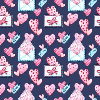 Nahtlose musterstruktur des aquarells für valentinstag. handgemalter hintergrund. romantische illustration