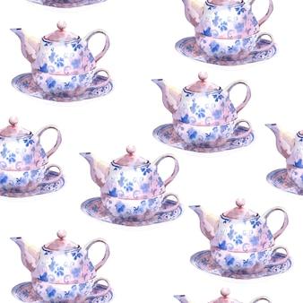Nahtloser aquarellhintergrund mit teekannen