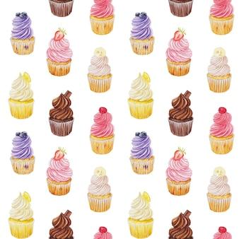 Nahtloser hintergrund des aquarells mit cupcakes