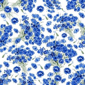 Nahtloser mit blumenhintergrund von den blumen der feldkornblume. weißer isolierter hintergrund. nahaufnahme. konzept für druck und design auf stoff.