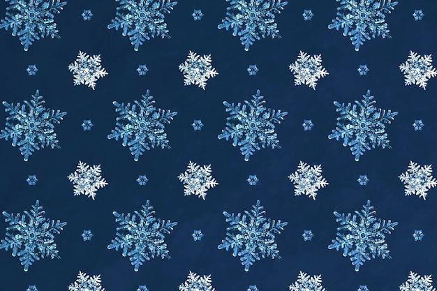 Nahtloser musterhintergrund der blauen weihnachtsschneeflocke, remix der fotografie von wilson bentley