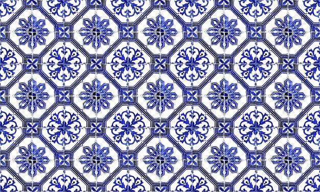 Nahtloser portugal- oder spanien-azulejo-fliesen-hintergrund. hohe auflösung.