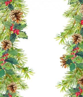 Nahtloser rahmen der weihnachtsbaumaste