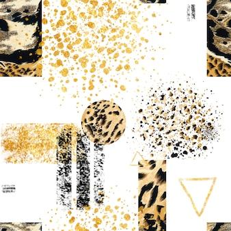 Nahtloses abstraktes geometrisches muster mit tierischem wildem jaguardruck.