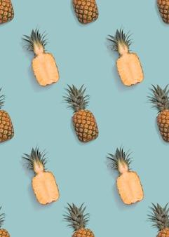 Nahtloses ananas schneidet muster auf blauem hintergrund