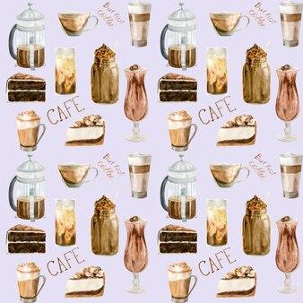 Nahtloses aquarellmuster mit abbildungen der kaffeetasse