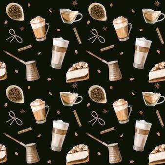 Nahtloses aquarellmuster mit abbildungen des kaffees