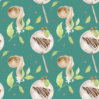 Nahtloses aquarellmuster mit abbildungen von kaffeetasse, kaffeebohnen, kaffeemühle, cappuccino, latte und desserts