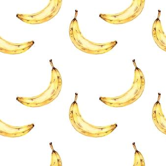 Nahtloses aquarellmuster mit bananen, aquarellmalerei auf einem weißen hintergrund mit tropischen früchten.