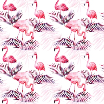 Nahtloses aquarellmuster mit flamingo und farbigen tropischen blättern.