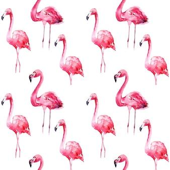 Nahtloses aquarellmuster mit flamingo.