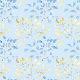 Nahtloses aquarellmuster mit großen abstrakten blättern des goldes und des blauen auf hellblau