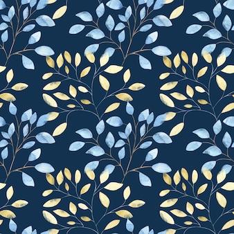 Nahtloses aquarellmuster mit großen abstrakten blättern des goldes und des blaus auf dunkelblau