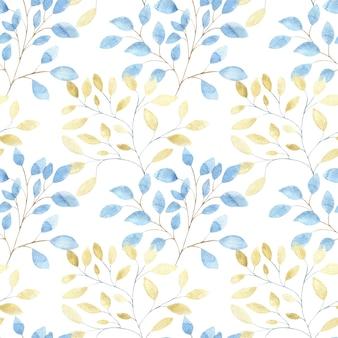 Nahtloses aquarellmuster mit großen abstrakten blättern des goldes und des blaus auf weiß