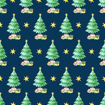 Nahtloses aquarellmuster mit grünem weihnachtsbaum mit geschenkboxen.