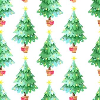 Nahtloses aquarellmuster mit grünem weihnachtsbaum.