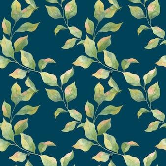Nahtloses aquarellmuster mit grünen frühlingsblättern auf einem blauen hintergrund, apfelzweige