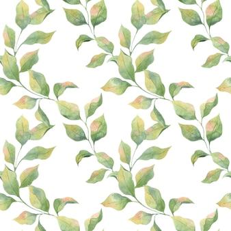 Nahtloses aquarellmuster mit grünen frühlingsblättern auf einem weißen hintergrund, apfelzweige