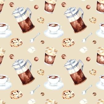Nahtloses aquarellmuster mit kaffeebohnen, französischer presse und keksen auf einem farbigen hintergrund. aquarellillustration für verpackung, cafés, geschäfte, menüs, stoffe.