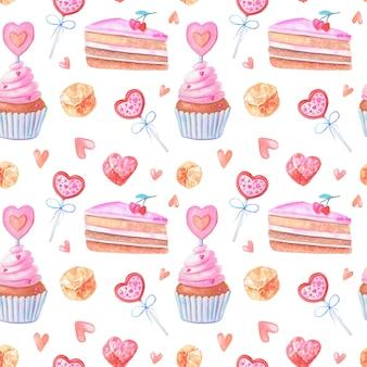 Nahtloses aquarellmuster mit rosa herzen, kuchen, marmeladen, süßigkeiten.