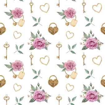 Nahtloses aquarellmuster mit rosa rosen und goldenen schlössern und schlüsseln. romantischer hintergrund. valentinstag liebesmuster.