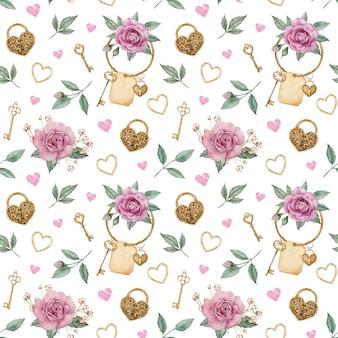 Nahtloses aquarellmuster mit rosa rosen und goldenen schlössern und schlüsseln. valentinstag liebesmuster.
