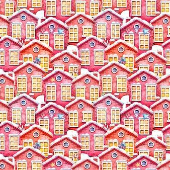 Nahtloses aquarellmuster mit roten winterhäusern, weihnachtsspielzeug, geschenken