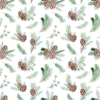 Nahtloses aquarellmuster mit tannenzweigen und -kegeln. winterwaldhintergrund. botanisches muster für weihnachten und neujahr.