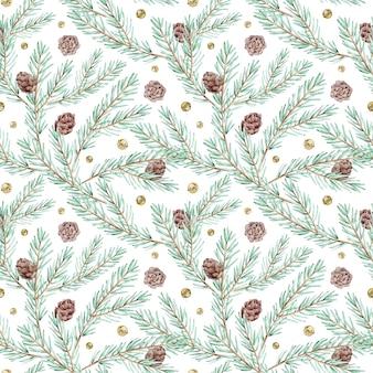 Nahtloses aquarellmuster mit tannenzweigen, zapfen und klingelglocken. winterwaldhintergrund. botanisches muster für weihnachten und neujahr.