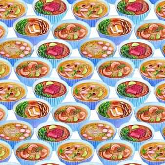 Nahtloses aquarellmuster mit vietnamesischer suppe pho.