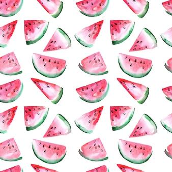 Nahtloses aquarellmuster mit wassermelonenscheiben.