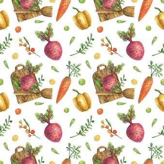 Nahtloses aquarellmuster von gemüse (karotten, rüben, paprika) auf einem hölzernen schneidebrett mit einem hölzernen spatel. gesunde ernährung. vegetarismus.