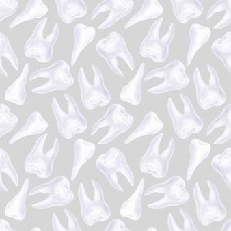Nahtloses aquarellmuster zum thema zahnmedizin. elemente der zahnpflege