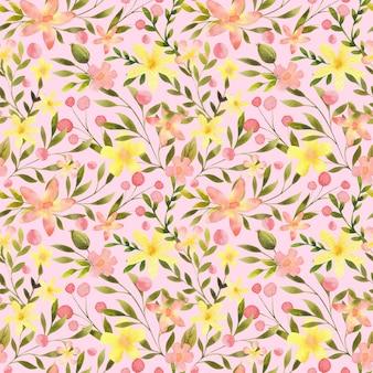 Nahtloses blumenmuster auf rosa hintergrund aquarell botanischer wiederholungsdruck blumenblätter design