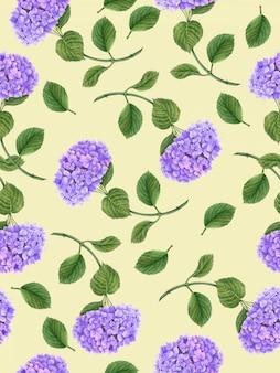 Nahtloses blumenmuster mit hortensienblume