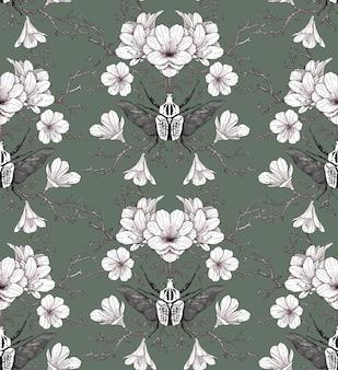 Nahtloses blumenmuster mit weißen blumen und käfern auf einem gedämpften grünen hintergrund. handzeichnung im vintage-stil. design für stoff, tapete, papier, scrapbooking.