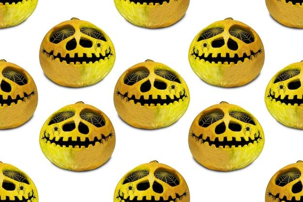 Nahtloses endloses halloween-kürbismuster. festlicher herbsthintergrund. für gestaltung und druck. jacks kopfhintergrund. allerheiligen.