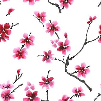Nahtloses frühlingsfrisches muster. blühendes kirschblüte-blumenmuster.