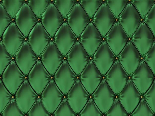 Nahtloses grünes lederpolstermuster, 3d illustration