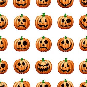 Nahtloses halloween-muster. bild von orange kürbissen.