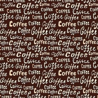 Nahtloses kaffeemuster mit schriftzug kaffee auf dunkelbrauner oberfläche